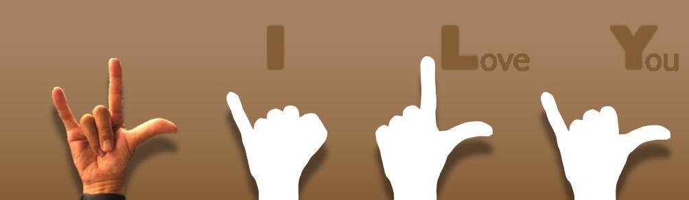 世界共通の手話、小指、人差し指、親指を伸ばしてアイラブユー