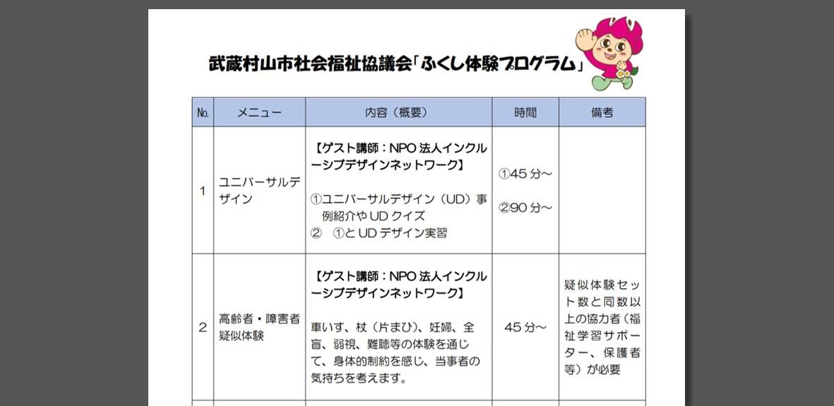 武蔵村山市社会福祉協議会の福祉体験プログラムより抜粋した画像